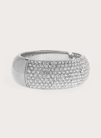 Crystal Encrusted Metallic Bangle, Silver, hi-res