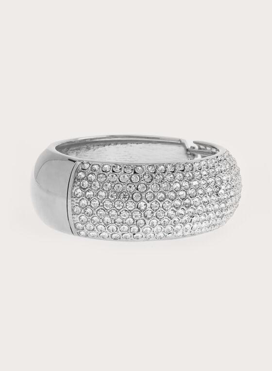 Crystal Encrusted Metallic Bangle, Silver, hi-res