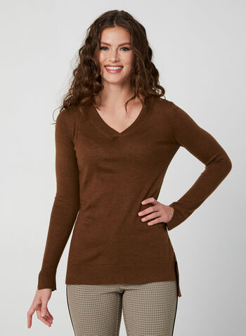 V-Neck Sweater, Brown, hi-res,  ribbed sweater