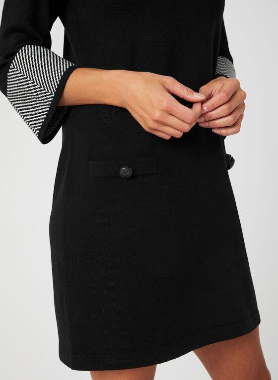 Chevron Print Knit Dress, Black, hi-res