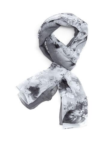 Floral & Leaf Print Scarf, Grey, hi-res