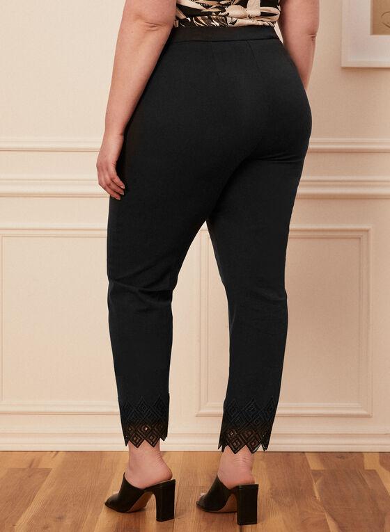 Lace Detail City Fit Pants, Black