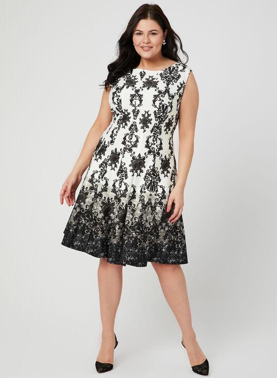 Baroque Print Fit & Flare Dress, Black, hi-res