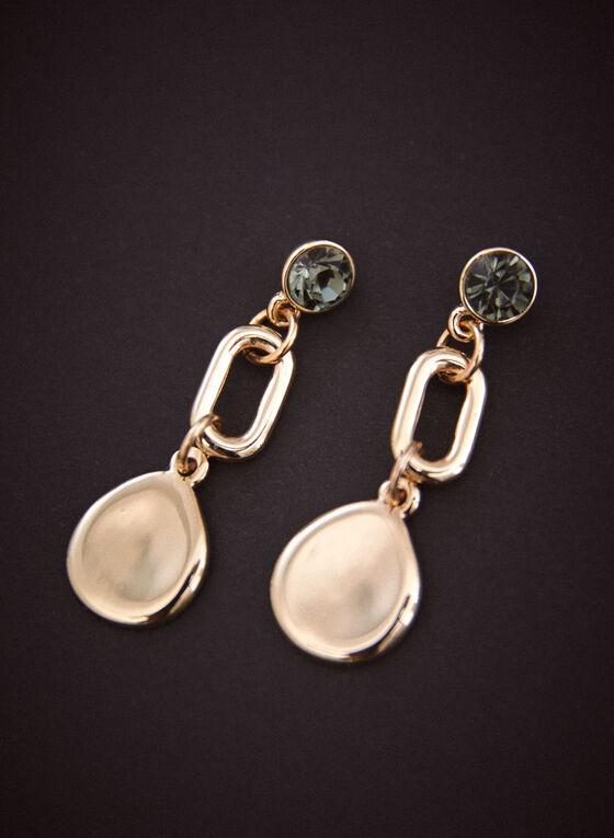 Three Tier Dangle Earrings, Gold