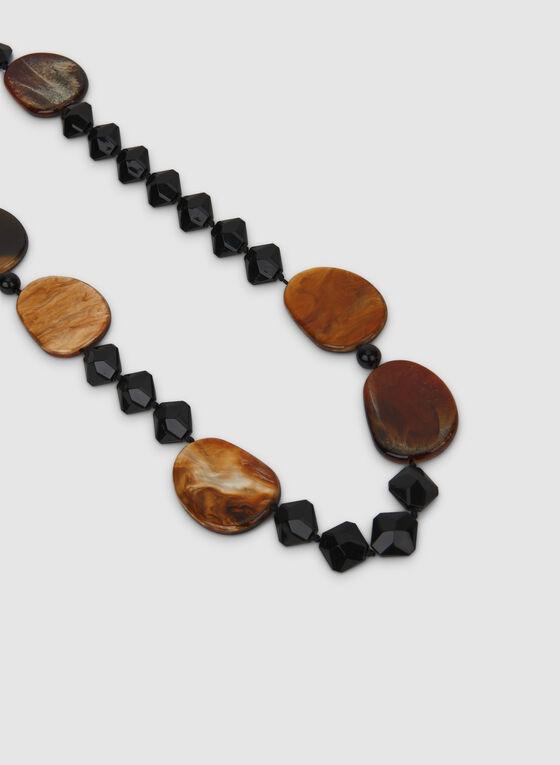 Collier à billes et insertions marbrées , Noir