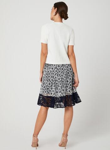 Boléro ouvert en tricot et bordures texturées, Blanc cassé, hi-res