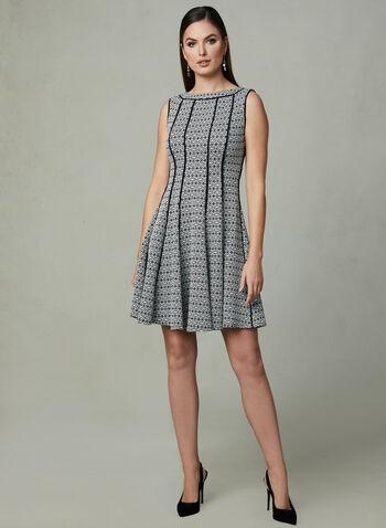 Paneled Fit & Flare Dress, Black, hi-res