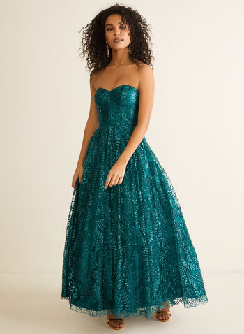 Bustier Glitter Ball Gown, Blue,  prom dress, ball gown, strapless, bustier, sweetheart, glitter, crinoline, floor length, train, spring summer 2020