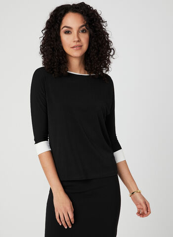 ¾ Sleeve Contrast Trim Top, Black, hi-res