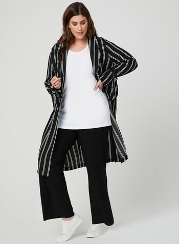 Stripe Print Duster Jacket, Black, hi-res