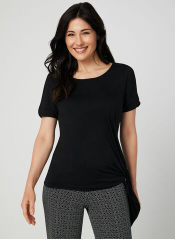 Cold Shoulder Cutout Top, Black, hi-res