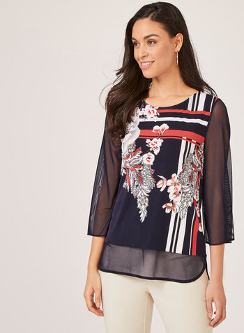 Floral Print Mesh Sleeve Top, Blue, hi-res