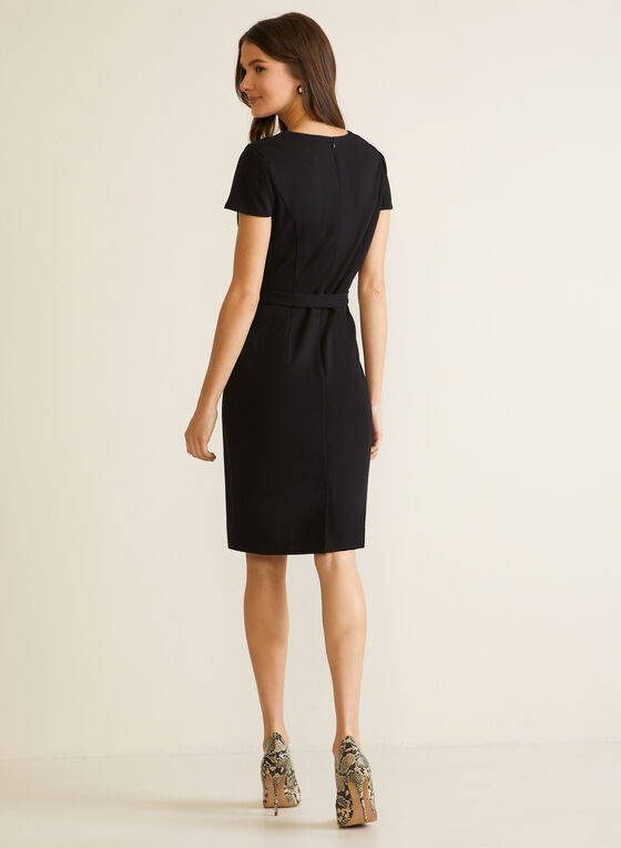 Cap Sleeve Belter Dress, Black