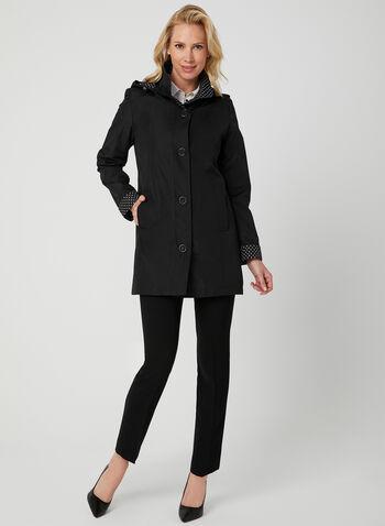 Fennelli - Manteau droit à doublure pois, Noir,  manteau, col claudine, pois, manches longues, capuchon amovible, printemps 2019