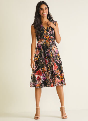 Floral Print Lace Dress, Black,  cocktail dress, floral, belt, sleeveless, fit & flare, lace, spring summer 2020