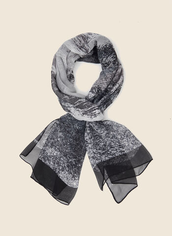 Abstract Print Lightweight Scarf, Black,  scarf, lightweight, abstract, chiffon, fall winter 2020