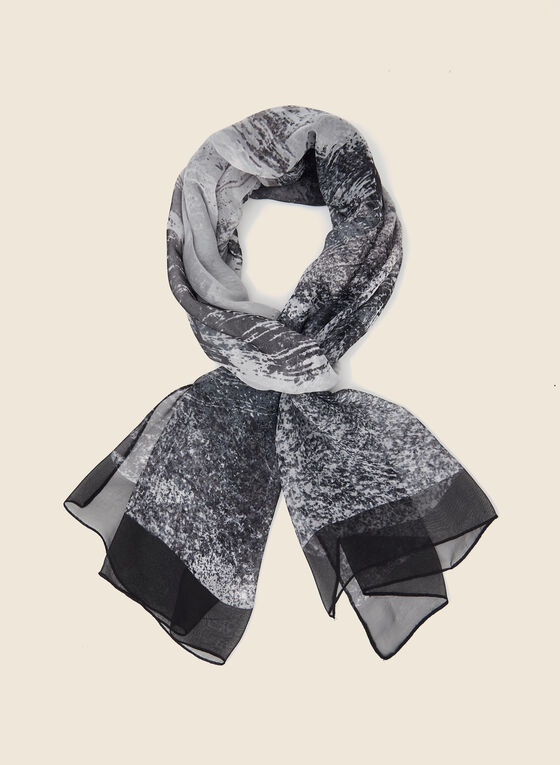 Abstract Print Lightweight Scarf, Black