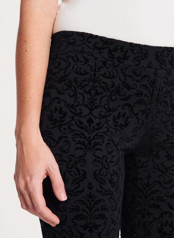 Slim Leg Pull-On Velvet Print Pants, Black, hi-res