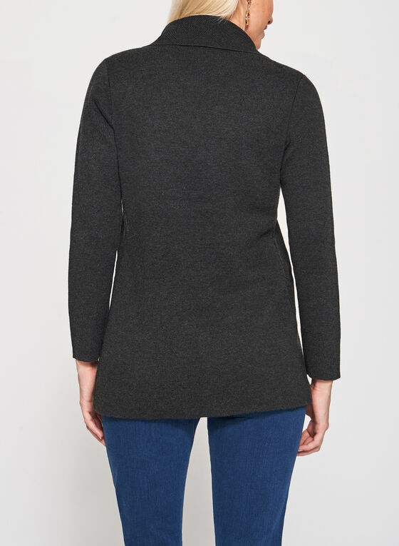 Cardigan ouvert à col drapé en tricot, Gris, hi-res