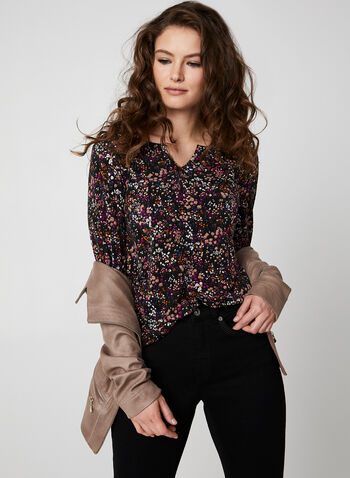 Ditsy Floral Print Top, Multi,  Canada, top, floral, 3/4 sleeves, open V-neck, fall 2019, winter 2019