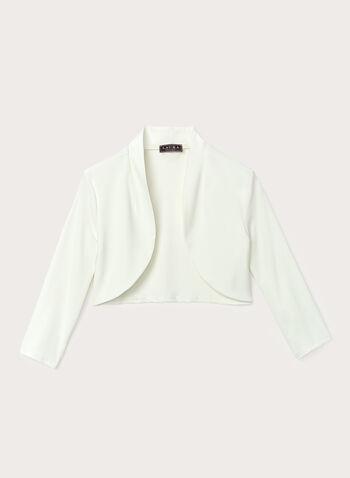 Open Front ¾ Sleeve Bolero , Off White, hi-res