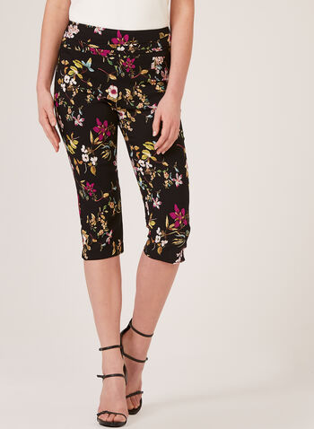 Floral Print Pull-On Capri Pants, Grey, hi-res