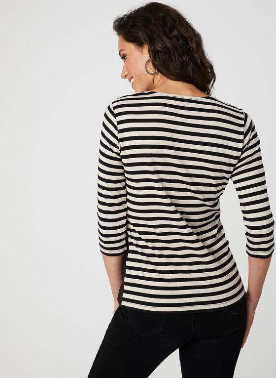 Stripe Print ¾ Sleeve Top, Black
