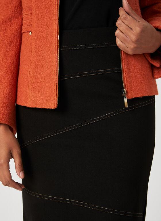 Contrast Stitch Pencil Skirt, Black, hi-res