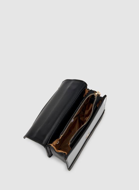 Sac à bandoulière et détails métallisés , Noir, hi-res
