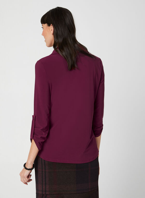 ¾ Sleeve Button-Down Top, Red