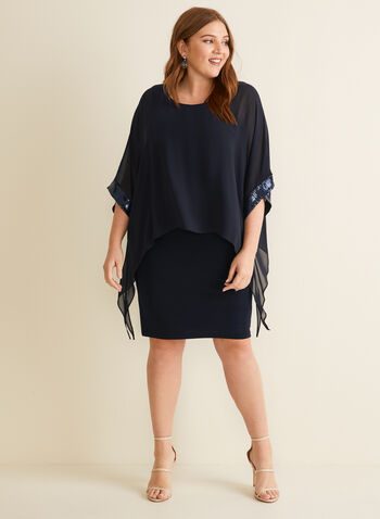 Joseph Ribkoff - Jersey & Chiffon Cocktail Dress, Blue,  dress, cocktail, evening, occasion, sequins, chiffon, jersey, spring summer 2020