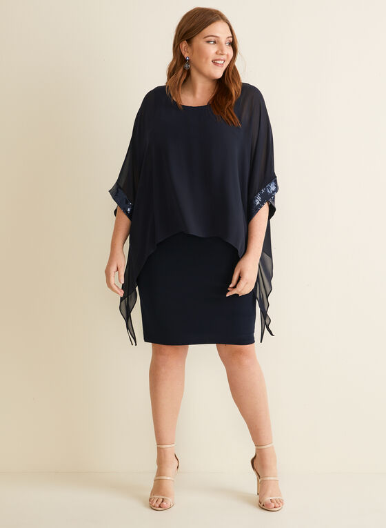 Joseph Ribkoff - Jersey & Chiffon Cocktail Dress, Blue