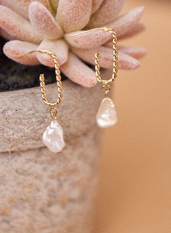 Hammered Pearl Dangle Earrings, Off White,  earrings, dangle, pearl, hammered, twist, metallic, spring summer 2021