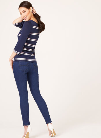 Ribbed Stripe Fine Knit Sweater, Blue, hi-res