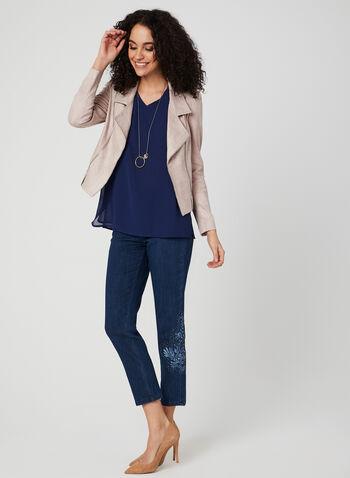 Vex - Open Front Faux Suede Jacket, Pink, hi-res