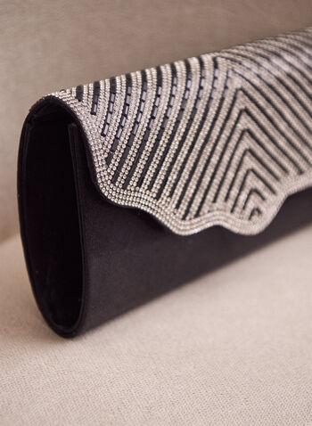 Crystal Flap Clutch, Black,  clutch, metallic clutch, evening clutch, scalloped, spring 2020, summer 2020