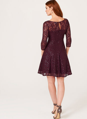 Sequin Lace Fit & Flare Dress , , hi-res