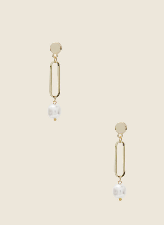 Elongated Oval & Pearl Earrings, Off White
