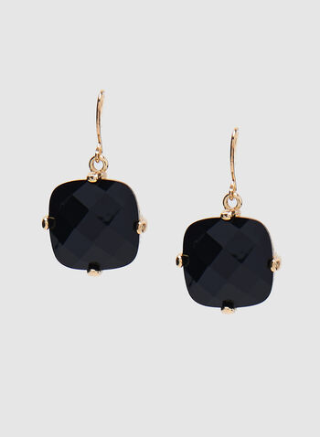 Faceted Crystal Earrings, Black, hi-res