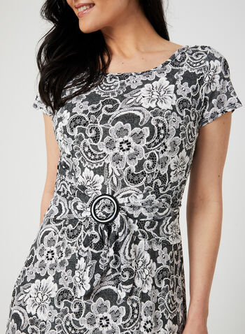 Perceptions - Lace Print Fit & Flare Dress, Silver, hi-res