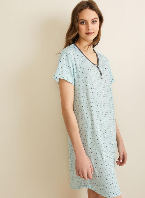Comfort & Co. - Chemise de nuit à manches courtes, Bleu