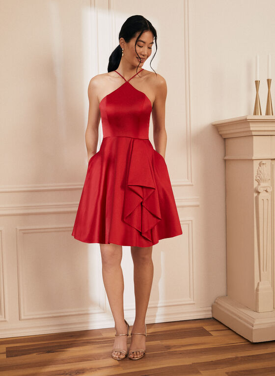 Flounce Detail Satin Dress, Red