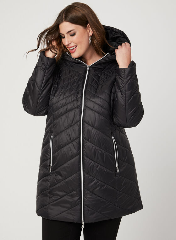 Lightweight Quilted Coat, Black, hi-res
