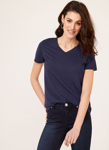 V-Neck T-Shirt, Blue, hi-res
