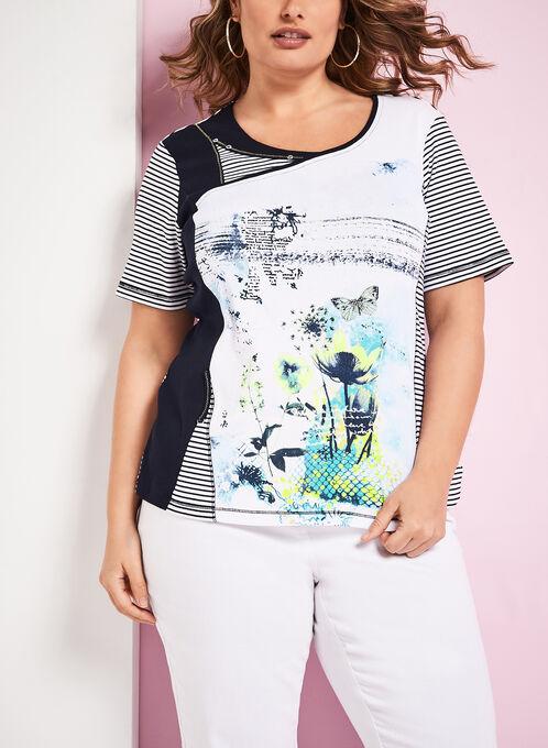 T-shirt rayé avec imprimés abstraits, Bleu, hi-res