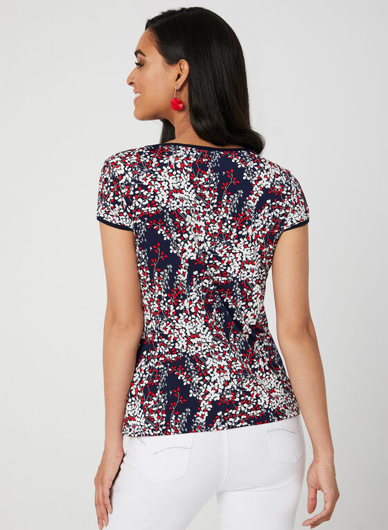 Vine Print Top, Blue, hi-res