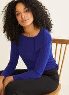 Haut en tricot à col à rabat, Bleu