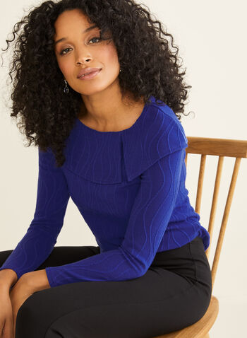 Haut en tricot à col à rabat, Bleu,  manches longues, tricot, lignes ondulées, fait au Canada, automne hiver 2019
