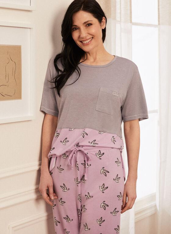 Bird Print Pyjama Set, Grey