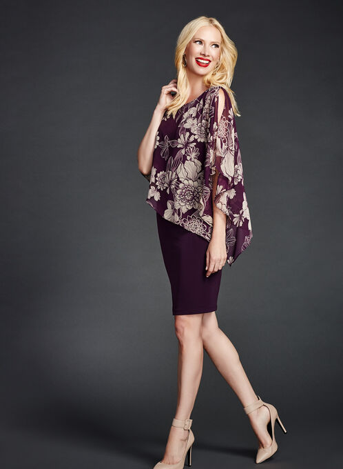 Floral Print Asymmetric Poncho Dress, Purple, hi-res